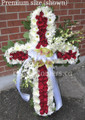 Standing Cross With Red And White Flowers
