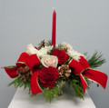Holiday Centerpiece With Red Candle