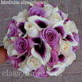 Hand Tied Bridal Bouquet  With Mini Calla Lilies And Roses