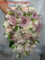 White Fresia And Blush Pink Roses Cascading Bridal Bouquet