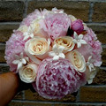 Hand Tied Bridal Bouquet With Pink Peonies, Stephanotis And Roses