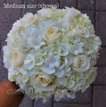 Hand Tied Bridal Bouquet With Hydrangea and Roses.