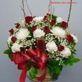 Red And White Basket Flower Arrangement