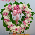 Sympathy Standing Open Heart Pink And White Roses