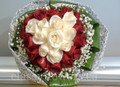 Heart Shaped Bouquet Of Red And White Roses