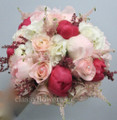 Bridal Bouquet With Blush Pink Roses And Peony.
