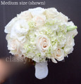 Nosegay Bridal Bouquet  With White Hydrangea, Roses And Stephanotis