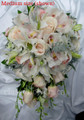 White Cymbidium Orchids And Ivory Roses Cascading Bridal Bouquet
