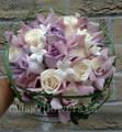 Mauve Cymbidium Orchids,Mauve/Ivory Roses And Stephanotis Bridal Bouquet