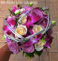Purple Denrobium Orchids And Purple/Ivory Roses Bridal Bouquet