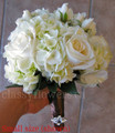 White Hydrangea And  Roses Bridesmaid Bouquet