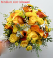 Dahlia, Roses And Orange Mini Calla Lilies Bridal Bouquet
