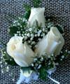 Three Ivory Roses Wrist Corsage