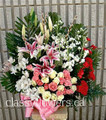 Medium size sympathy basket flower arrangement for her $115