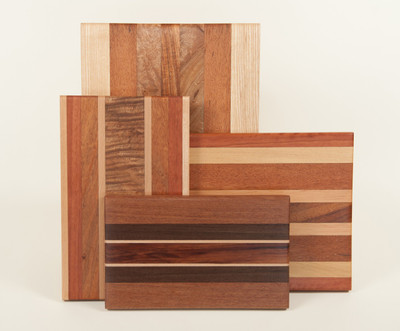 Mixed wood serving & cutting boards