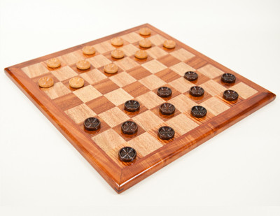 Checker board with playing pieces