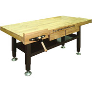 WORKBENCH H.D OAK WITH STEEL LEGS