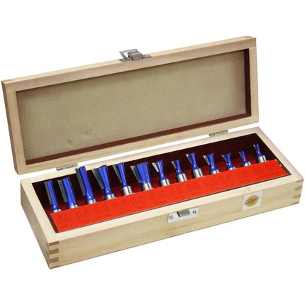 DOVETAIL AND STRAIGHT BIT SET 13PC