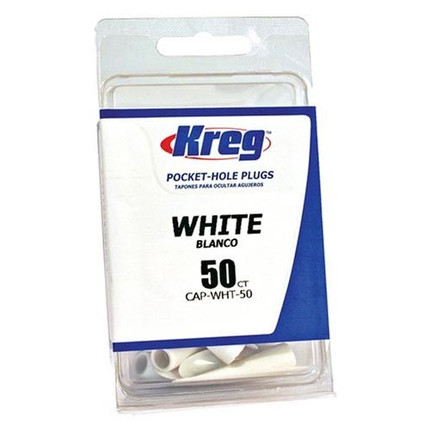 WHITE PLASTIC CAPS 50 COUNT KREG