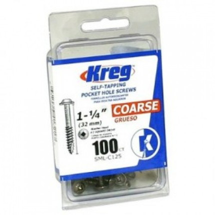 POCKET SCREWS 1 1/4IN. NO. 8 CRSE W/H 100CT