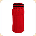 Red Sweater--Black Stripe Turtleneck