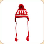 Red & White Snowflake Knit Tassel Hat