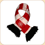 Red & White Striped Scarf with Embroidered Snowflake