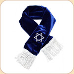 Blue Scarf with Embroidered Silver Star of David
