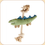 One Rope Canvas Green Crocodile Toy