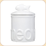 "MEOW White Ceramic 7.5"" Treat Jar"