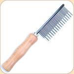 Shedding Comb--Metal with Wood Handle