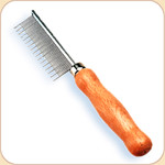 Shedding Comb for Cats--Metal with Wood Handle