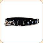 Cat Collar Breakaway & Bell--Skulls/Black