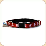 Cat Collar Breakaway & Bell--Skulls/Red