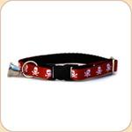 Cat Collar Breakaway & Bell--Skulls/Red