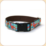 "M, L, XL Ribbon Collar & Leash 1""--Paisley Blue"