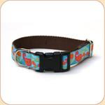 "M, L, XL Ribbon Collar & Leash 1""--Paisley Blue"