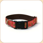 "M, L, XL Ribbon Collar & Leash 1""--Paisley Pink"