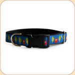 "M, L, XL Ribbon Collar & Leash 1""--Night Owls"