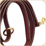 "Flat Leather Snap 3/4"" Leash--Chestnut"