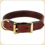 "Flat Leather Buckle 1"" Collar--Chestnut"