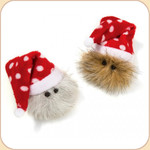 Holiday Hairball Cat Toy--Polka Dot Hat
