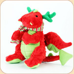 One Plush Holiday Red Dragon with Scarf