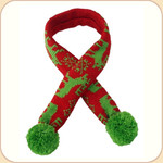 Red & Green Moose Knit Pom Pom Scarf