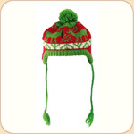 Red & Green Knit Moose Pom Pom Hat