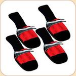 Muttluks Booties in Red x4--Fleece Lining