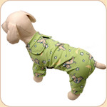 Star-Chasing Puppies Longjohns in Green