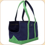 Canvas Tote in Navy/Green Trim