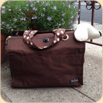 Brown Canvas Pet Sak--Polka Dot Ribbon Handles