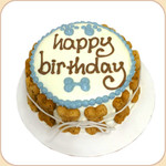 Boxed Happy Birthday Cake--white & blue